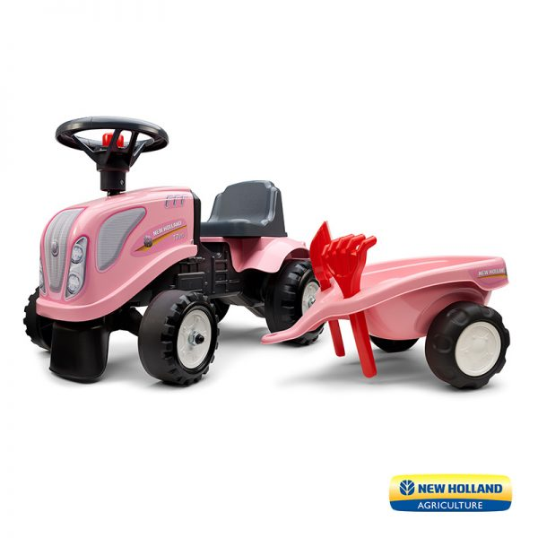 Trator Baby New Holland Pink + Reboque