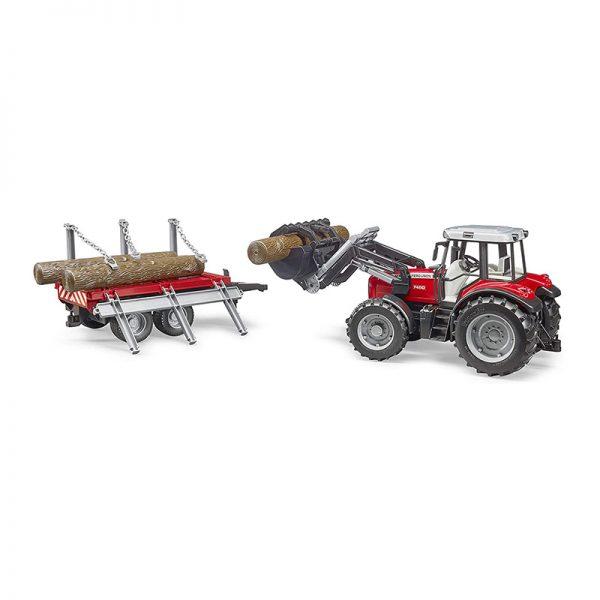 Trator Massey Ferguson 7480 + Pá + Reboque Florestal