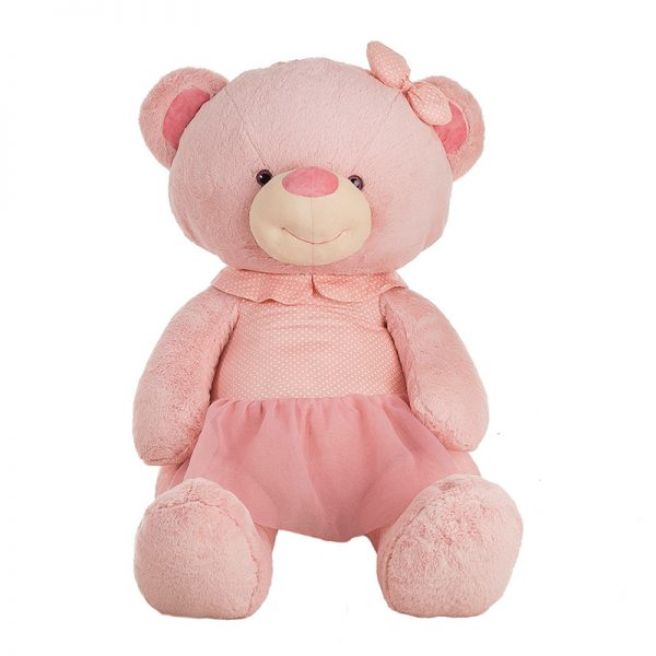 Urso Peluche c/ Vestido Rosa 100cm