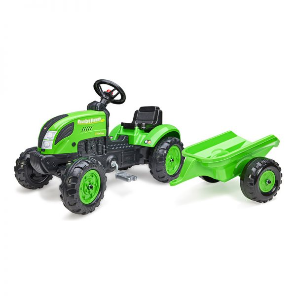 Trator Country Farmer Verde c/ Reboque